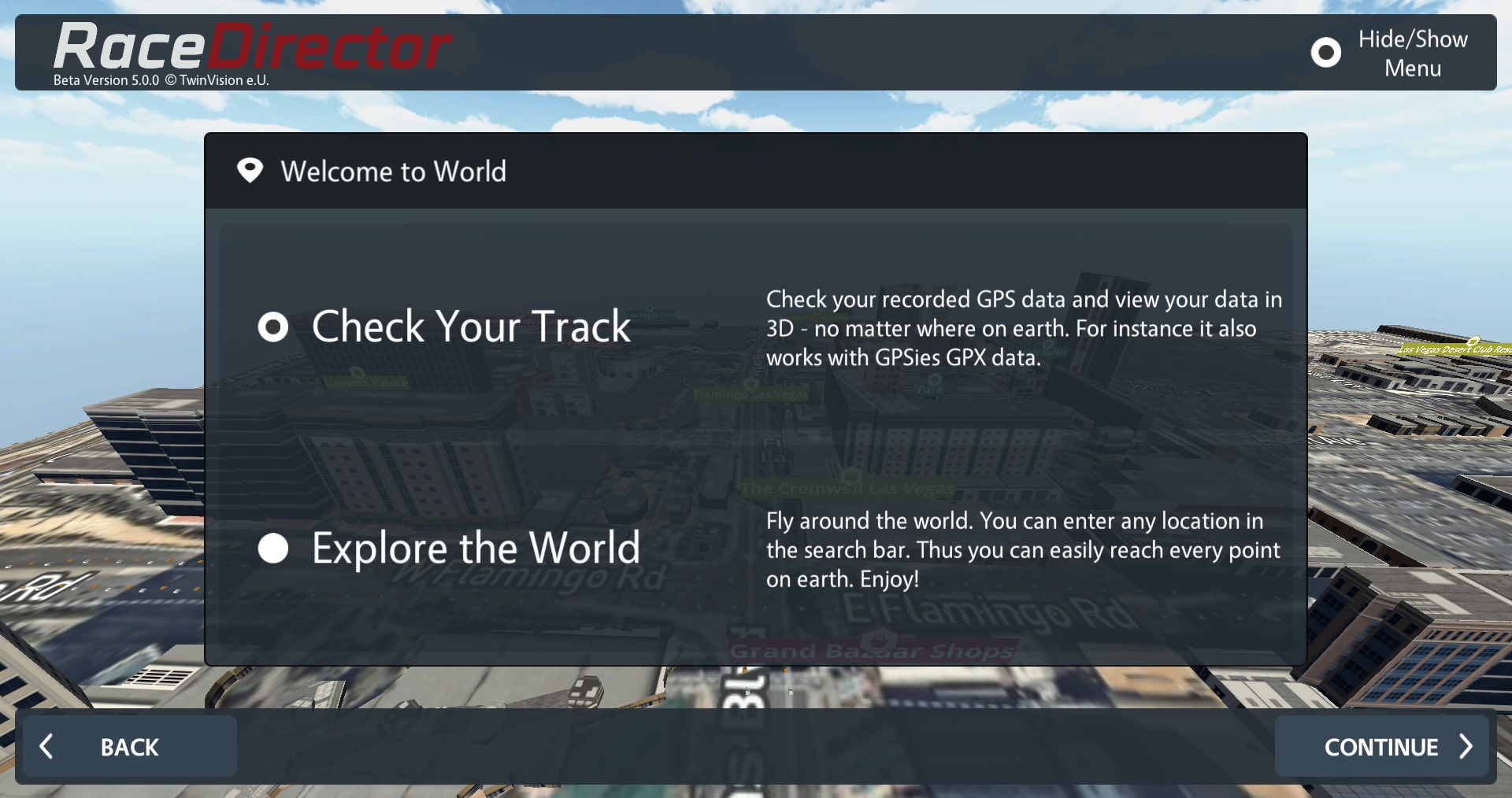 RaceDirector World Check Your Track Menu 2